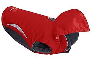EXPAWLORER Sport Winter Wind Breaker Waterproof Dog Parka Hoodies Clothes with Hood , Red Medium