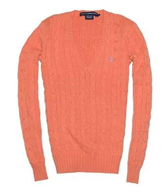 Ralph Lauren Sport Women Pony Logo Cable Knit V-neck Sweater (XS, Dark orange)