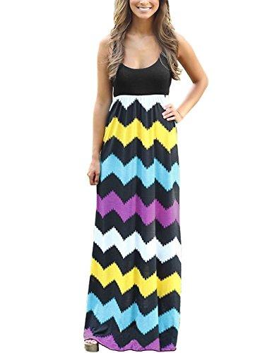dragonpad-womens-summer-beach-sleeveless-striped-maxi-long-vest-dress-black-m