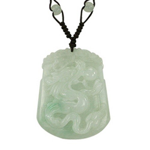 Hand Carved Jade Dragon Pendant Necklace