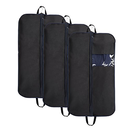 [3 Piece Breathable Garment Bag Set -Ideal For Suits, Dresses, Linens, Garments, Travel, Storage, or Organization. Squared Ends For Broad Shouldered Suits. Full 42