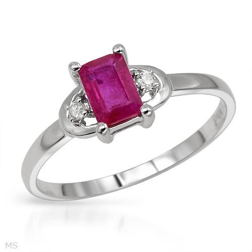 White Gold 0.71 CTW Ruby and 0.04 CTW Color H-I SI3 Diamond Ladies Ring. Ring Size 7. Total Item weight 1.5 g.