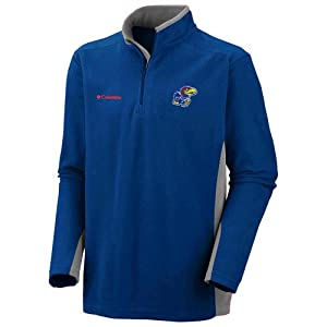 NCAA Columbia Kansas Jayhawks Klamath Range II Half Zip Fleece Jacket - Royal Blue (Large)