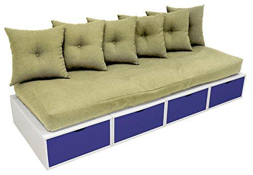 Banquette Cube 200 cm Blanc / Bleu foncé + futon + coussins Sable