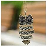 "Acczilla Lovely Bronze Textured Owl Pendant With 25"" Chain"