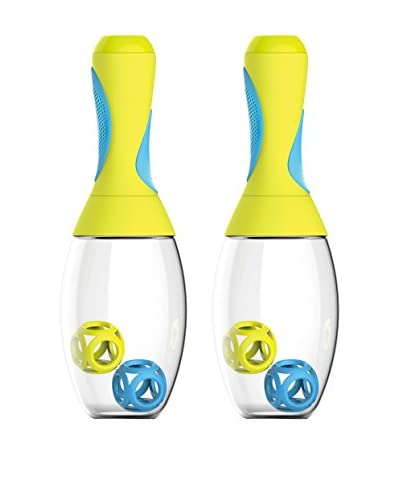 asobu Set of 2 Samba Shakers, Yellow/Blue