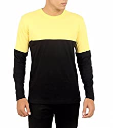 Younsters Choice Men's Cotton T-Shirt (YC-5808_Black Yellow _Large)