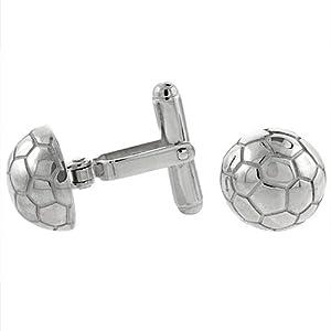 Sterling Silver Soccer Ball Cufflinks Swivel Bar, 9/16 inch wide