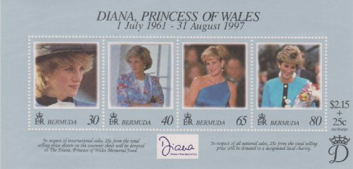 Diana, Princess Of Wales Bermuda 1998 #753 A-D