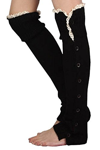Ladies Crochet Lace Flat Button Down Braid Leg Knit Warmers Boot Socks High Knee
