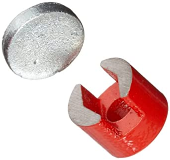 """Cast Alnico 5 Button Magnet With Keeper, 3/4"""" Diameter, 1/2"""" Thick, 7/32"""" Center Hole (Pack of 1)"""