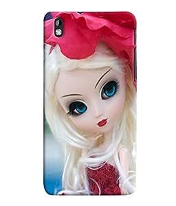 Fuson 3D Printed Cute Doll Designer Back Case Cover for HTC Desire 816 - D748