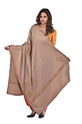 Weavers Villa - Womens Kashmiri Embroided Light Brown Woolen Shawls , Stoles
