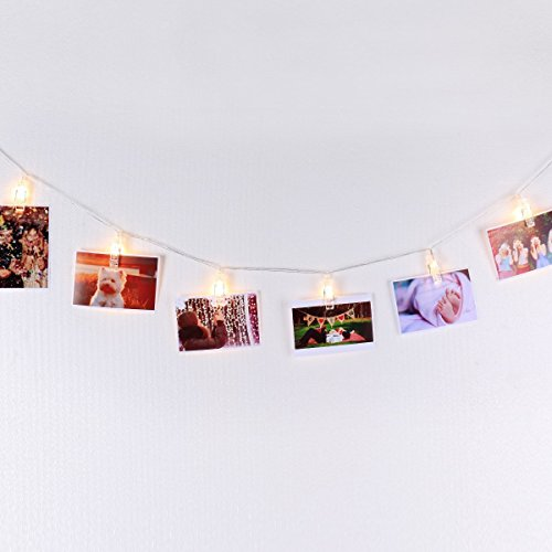 LED Photo Display String Lights with Timer Automatically ON/OFF Warm White 15ft/4.5m for Hanging Pictures Photos Cards and Notes Battery Powered Photo Banner Wall Decor Essential with Mini Clothespins