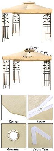 12' x 12' Beige Gazebo Canopy Replacement Top