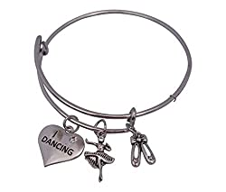 Dance Bangle Bracelet- Girls Dance Jewelry - Perfect Gift For Dance Recitals, Dancers and Dance Teams by Infinity Collection