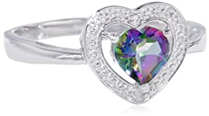 Sterling Silver, Mystic Green Topaz and Diamond Heart Ring (0.01 Cttw, G-H Color, I3 Clarity), Size 8