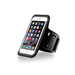 AIBO Sports Armband with Screen Protection Sleeve for Apple iPhone 6 / 6 Plus - Black