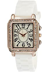 FMD White Crystal Accented Rubber Womens Watch FMDCT401