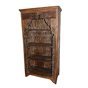 Antique Traditional Hand Carved Indian Book Case Bookshelf Arched Frame Wood