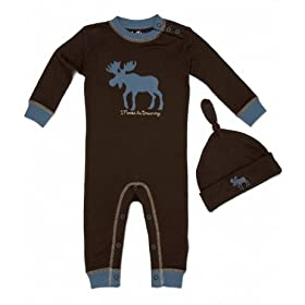 Infant Girl Sleepwear - Hatley Moose be Dreaming Coverall and Knot Cap 3-6 Months