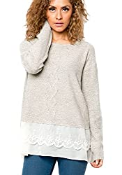 Women's Lace Hem Knit Sweater Small Grey