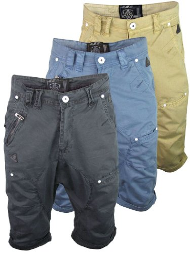Mens Dissident Drop Crotch 'Spin' Chino/ Cargo Shorts|Straw|34/L