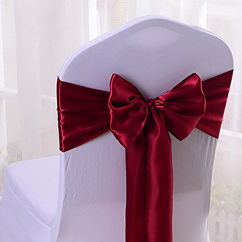 10PCS 17X275CM Satin Chair Bow Sash Wedding Reception Banquet Decoration #18 Wine Red