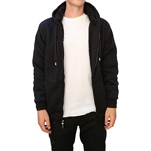 Maxxsel Mens Sherpa HeavyPolar Fleece Lined Zip Up Hoodie Jacket (X-Large, Black)
