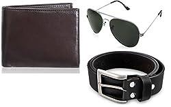 Rico Sordi leather wallet with sunglass & Belt(design-5) (Black) - RSM_37_39_WSGB
