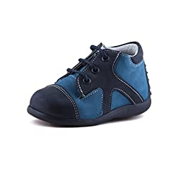 Wobbly Waddlers | FIRST STEPS - SEE SAW (Baby Toddler Boy) | Blue Leather Shoes (ankle & arch support) | Size 5 Toddler