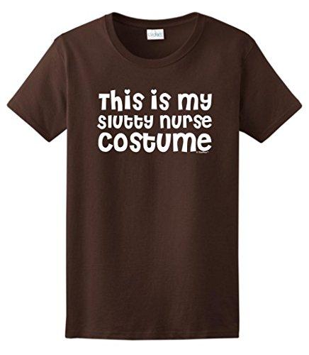 This is my Slutty Nurse Costume Funny Halloween Ladies T-Shirt 3XL Dark Chocolate (Dark Naughty Nurse Costume)