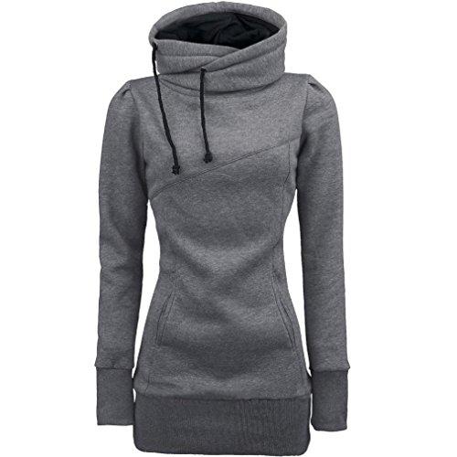 """Felpe Donna, Reasoncool Adatti a donne allentato Pullover maglietta a maniche lunghe camicetta Felpe sportive (M-Busto:37.8"""", Grigio)"""