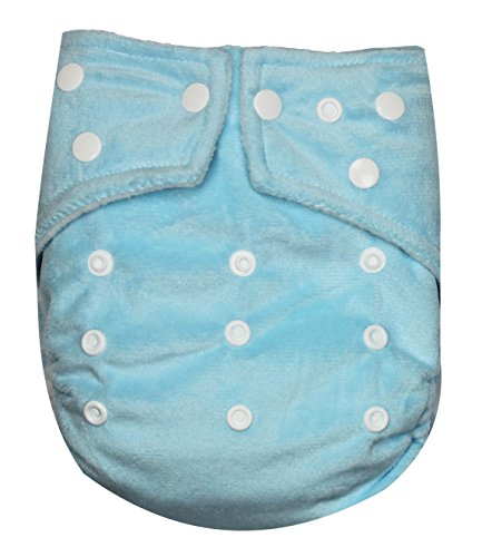 See Diapers One Size Minky Baby Cloth Diaper 2 Microfiber Inserts Light Blue - 1