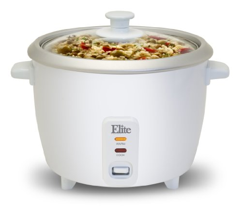 Maximatic Erc-003 Elite Cuisine 3-Cup Rice Cooker With Glass Lid, White