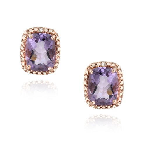 18K Rose Gold over Sterling Silver 4ct Amethyst & Diamond Accent Cushion Cut Earrings