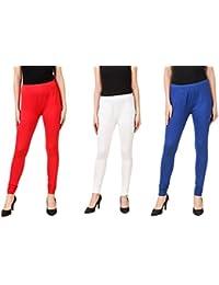 PRASITA Fashion Women's Cotton Lycra Churidar Leggings Pack Of 3(RED/WHITE/BLUE)