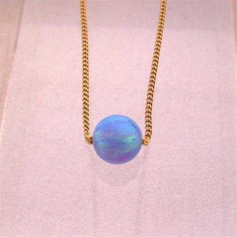 Blue Opal 5mm Round Ball Pendant Gold Filled Necklace