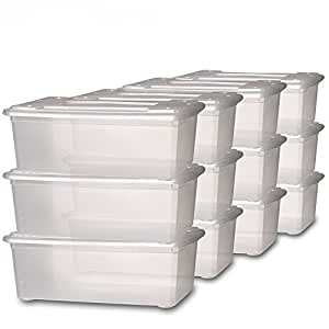 Jago lot de 12 bo tes de rangement en plastique - Boite rangement chaussures plastique ...