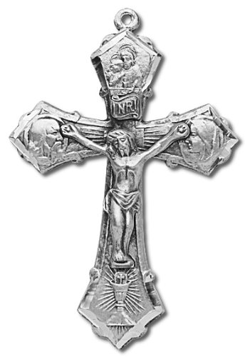 Sterling Silver Crucifix Cross Medal with 24