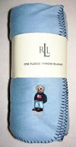 "Ralph Lauren Polo Fleece Throw Blanket Teddy Bear Slate Blue 54"" x 72"""