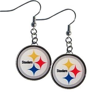 NFL Officially Licensed Team Logo Dangle Earrings (Pittsburgh Steelers)