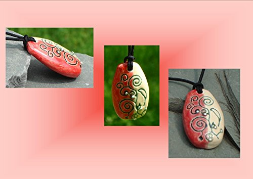 abstract-necklace-ceramic-pendant-red-cream-pottery-silver-focal-bead-stoneware-jewelry
