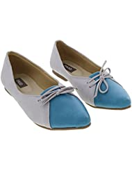 Paio Two Tone Grey And Blue Pointy Toe Ballet Flats For Women