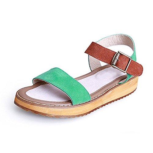 Scarpe da donna, Casual peep-toe Sandali della fibbia piatto romani Verde Size: 44