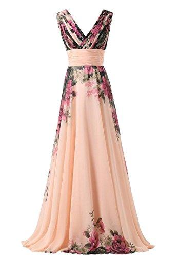 Molly Donna Vestito Lungo Di Chiffon Vestito Fiorale Profondo V Collare M Pink