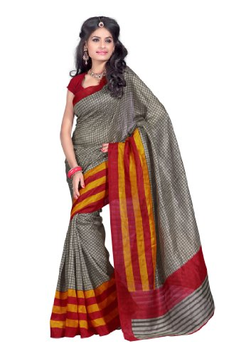 Fabdeal Indian Bhagalpuri Silk Grey Printed Saree Sari SareesORDSR6112AMHSR