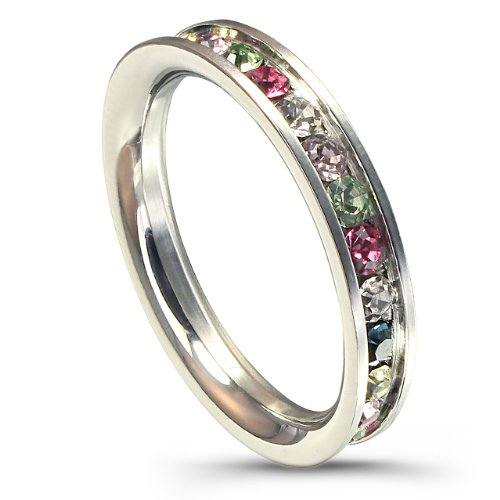 Stainless Steel Eternity Ring W/ Multi-Color Crystals (6)