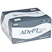"Dynalon 626705-0002 1-Ply Adept Low Particulate Wipe, 4.5"" Length x 8"" Width White Color (Box of 280)"