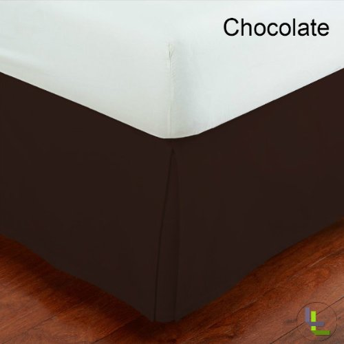 Masterlinens 1Pcs Box Pleated Bedskirt Solid (Drop Length: 20 Inches) Olympic Queen 500Tc 100% Egyptian Cotton High Quality Chocolate Solid front-917666